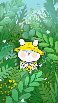 插画 草丛 小兔子 可爱