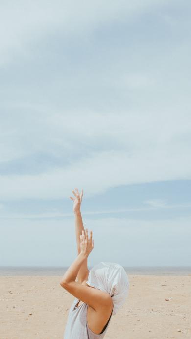 沙滩 蓝天 肢体 手臂