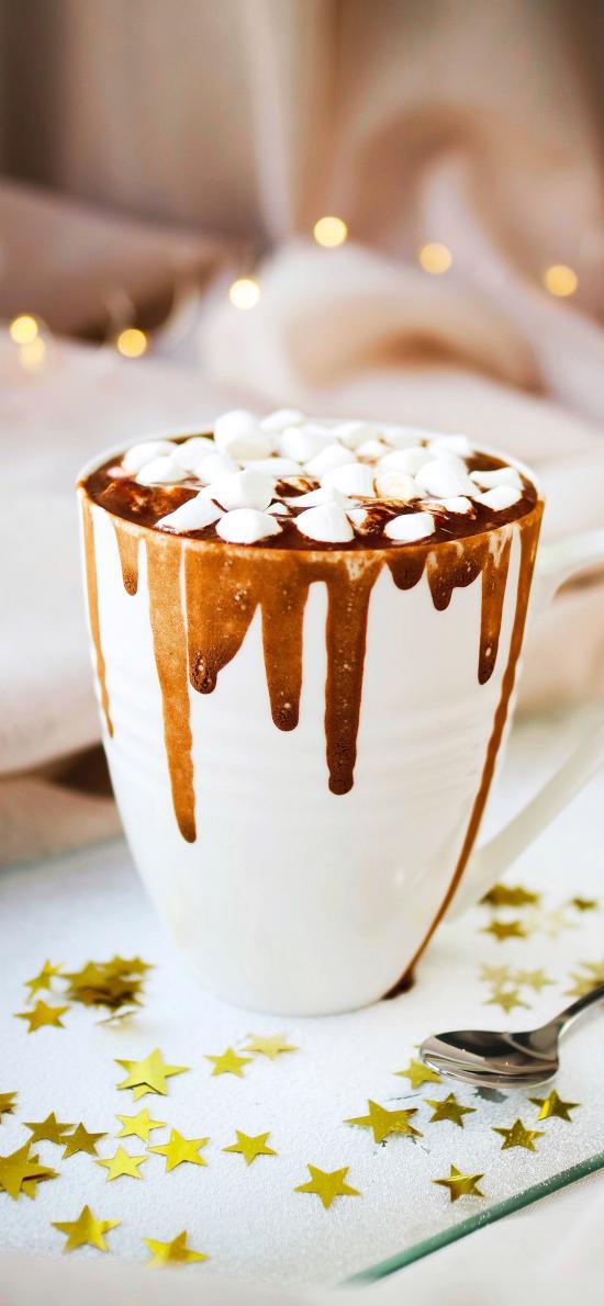 甜品 热巧克力 棉花糖 星片
