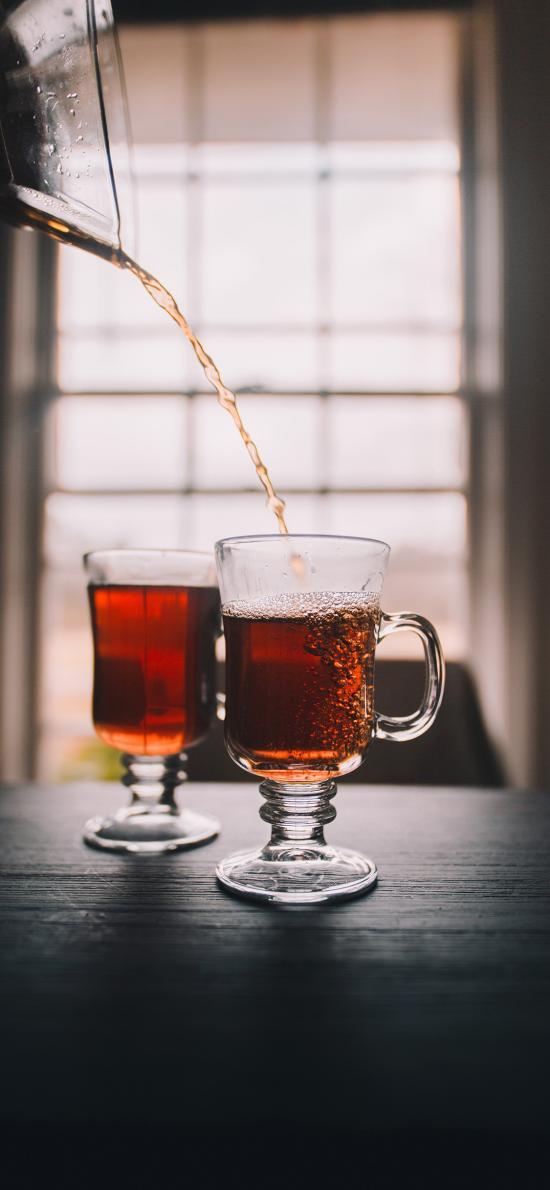 玻璃杯 容器 茶水 倾倒