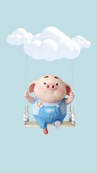 猪小屁 可爱 秋千 云朵