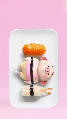猪小屁 可爱 寿司 三文鱼