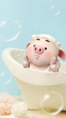 猪小屁 浴室 可爱 洗涮
