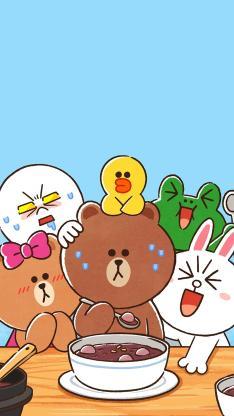linefriends 布朗熊 可妮兔 蓝色 可爱 汤圆
