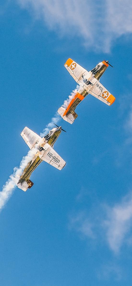 飞机 飞行 航空 烟雾