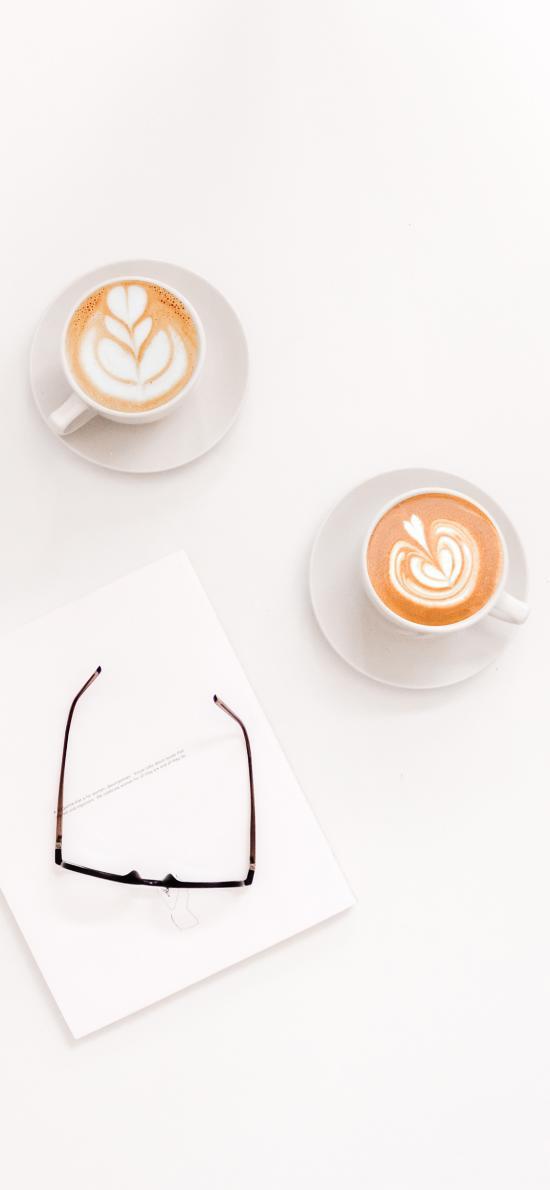 咖啡 拉花 杯具 眼镜 纸张