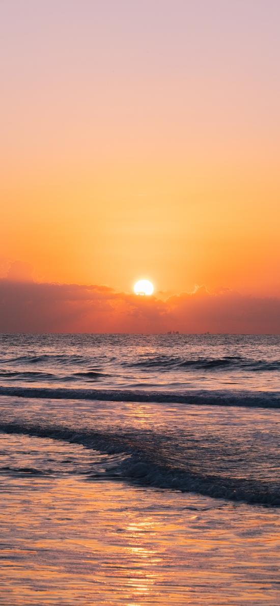 夕阳 海平面 渐变 天空