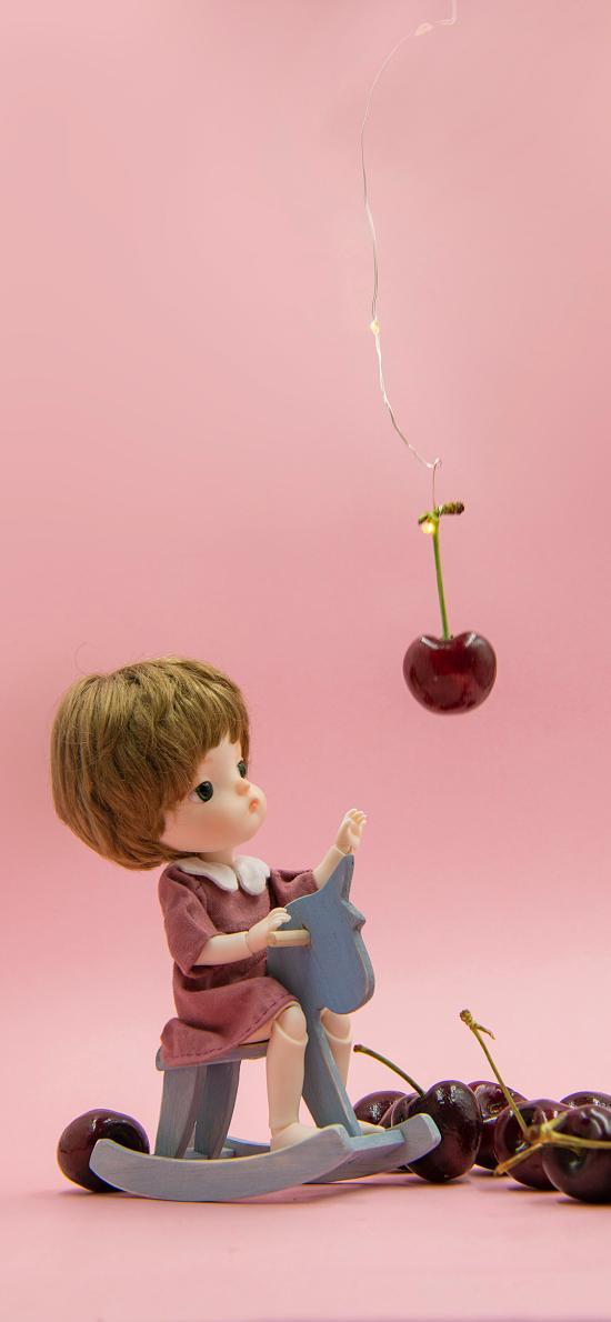 BJD娃娃 玩具 搖搖馬 櫻桃