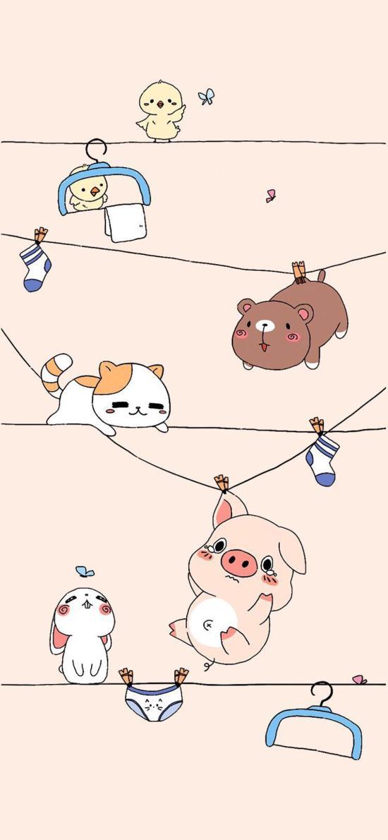 卡通 猪猪 猫咪 小熊