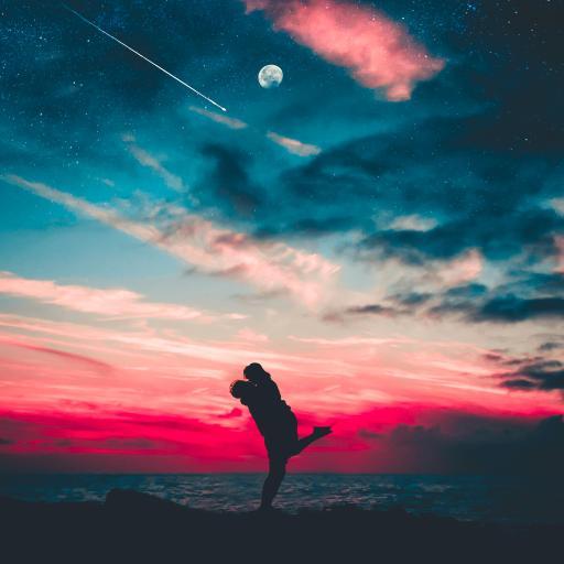 拥抱 情侣 爱情 剪影 浪漫 星空 海边
