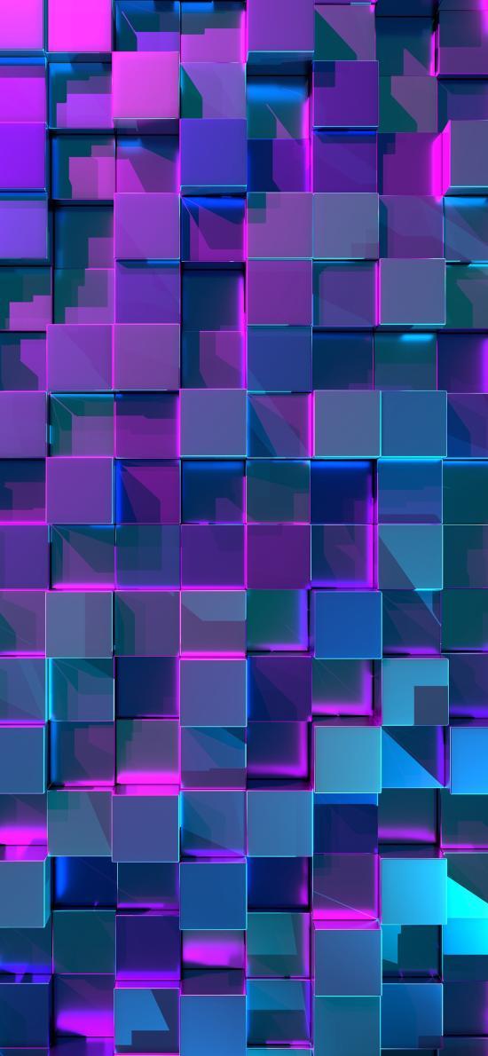 幾何 立體 紫色 空間