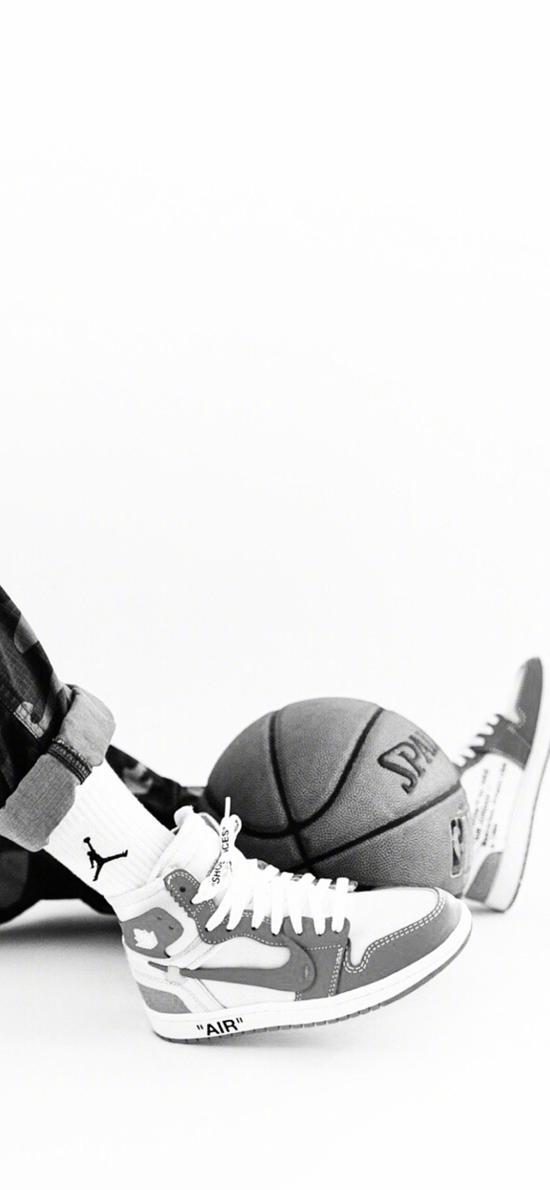 篮球 球鞋 运动 黑白