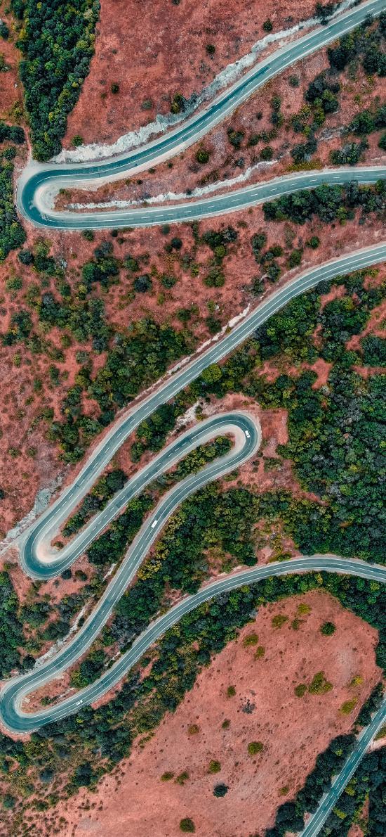航拍 车道 蜿蜒 植被