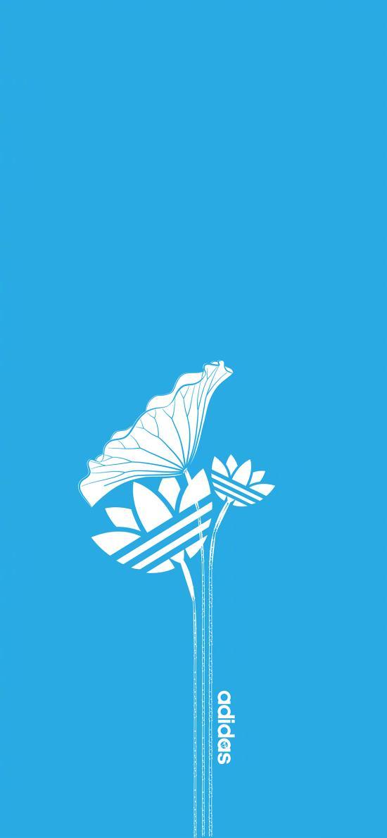 阿迪達斯 Adidas 藍色 運動 品牌 荷花
