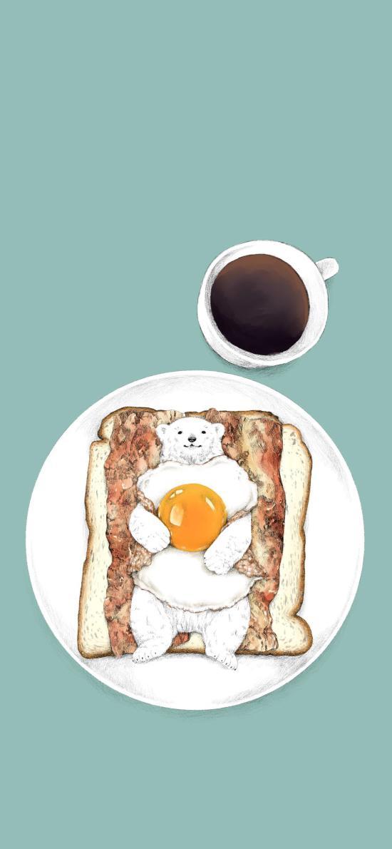 早餐 北极熊 培根 面包片 荷包蛋 咖啡 插画