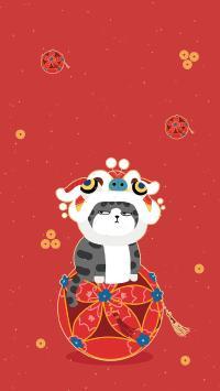 巴扎黑 新年 红色 舞狮 猫