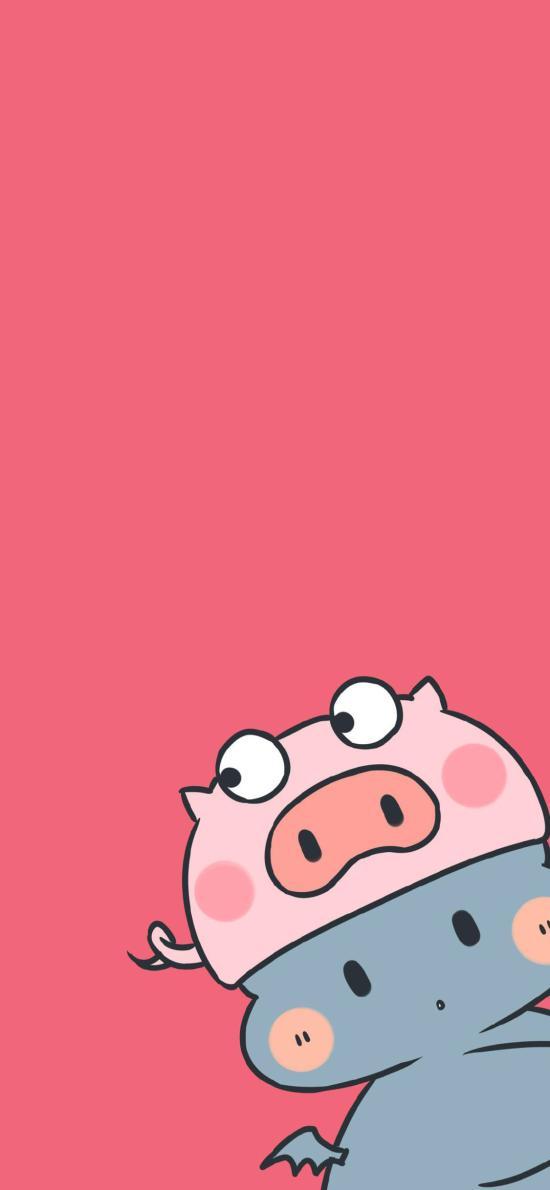 猪猪 情侣 卡通 可爱 粉色