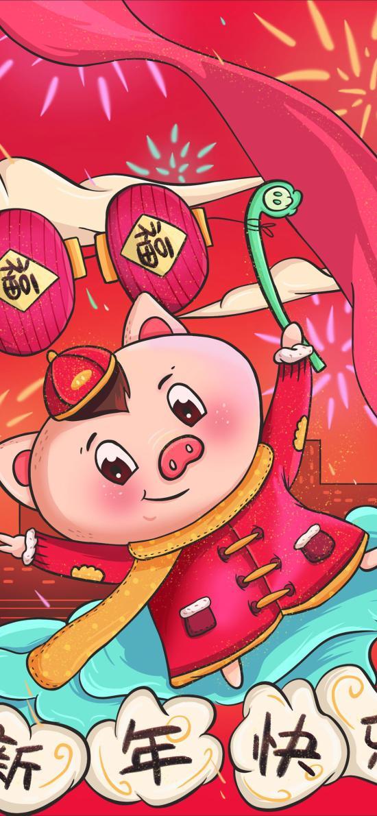 新年快乐 猪 插画 灯笼 红色