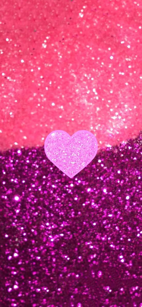 爱情 粉色 亮片 平铺