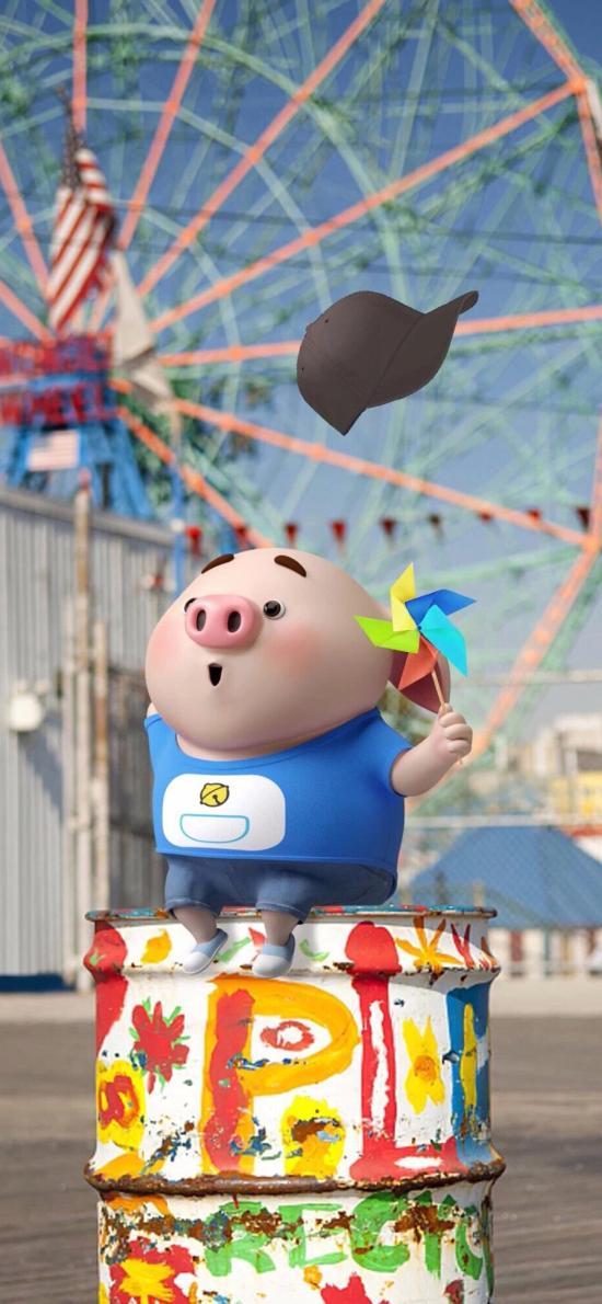 卡通 猪小屁 风车 摩天轮