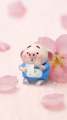 猪小屁 桃花 粉色 哆啦A梦