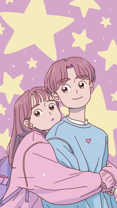 拥抱 情侣 爱情 浪漫 星星