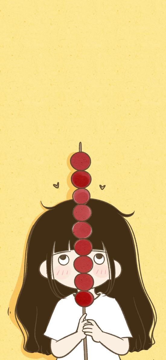 女孩 情侣 冰糖葫芦 黄色
