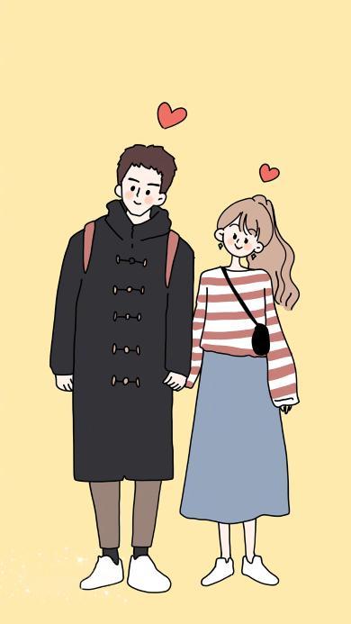 绘画 情侣 爱心 卡通