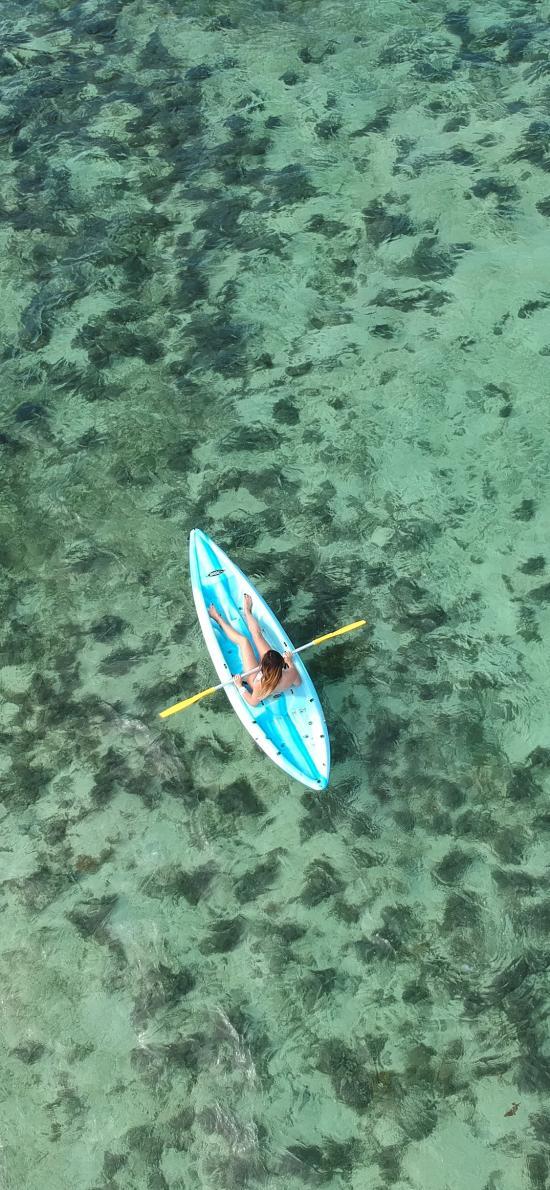 航拍 大海 小艇 唯美