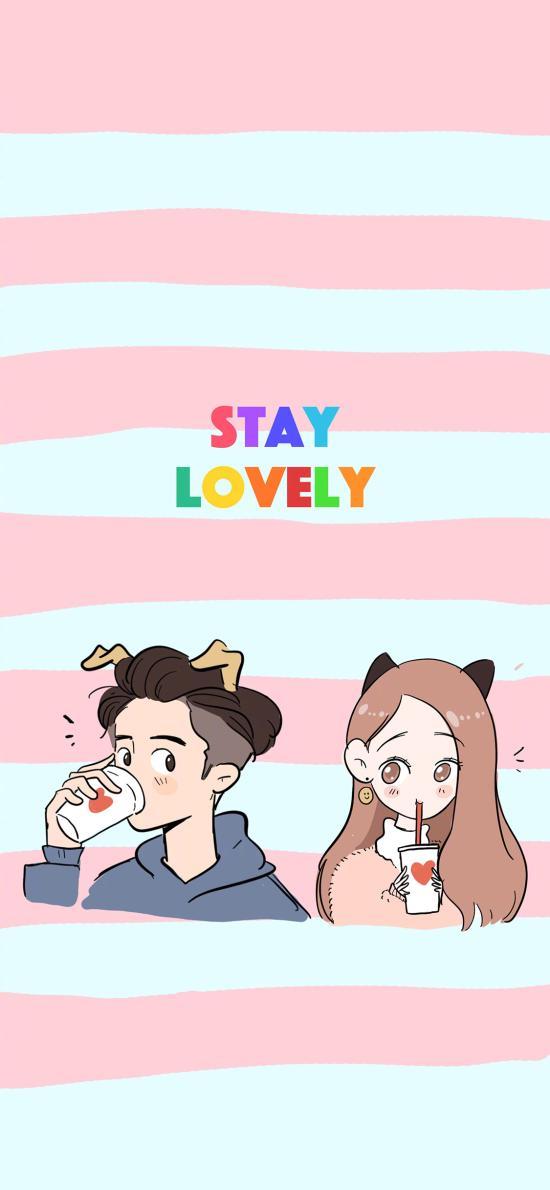 卡通 情侣 STAY LOVELY