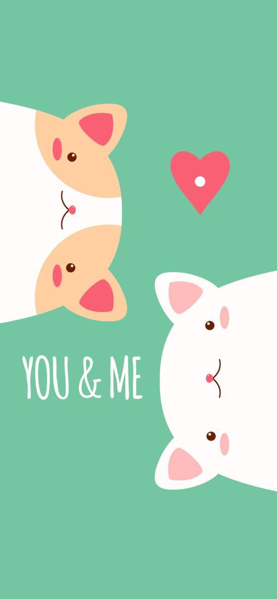 你和我 爱情 猫咪 爱心