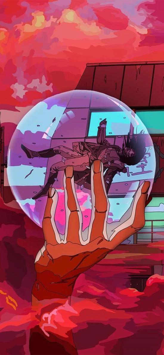 潮图 插图 水晶球 人物 二次元