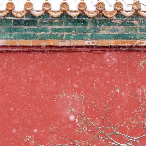 故宫 瓦片 建筑 红色 下雪 紫禁城