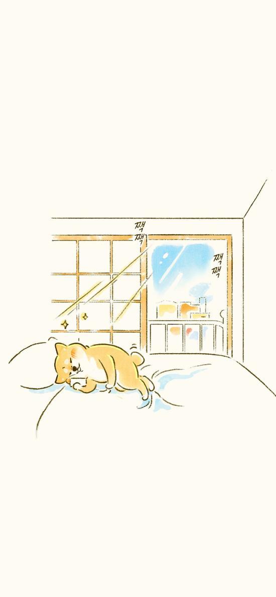 柴犬 擦插画 床 手机