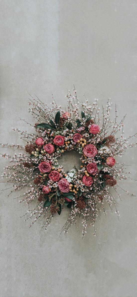 花环 鲜花 蔷薇 粉色