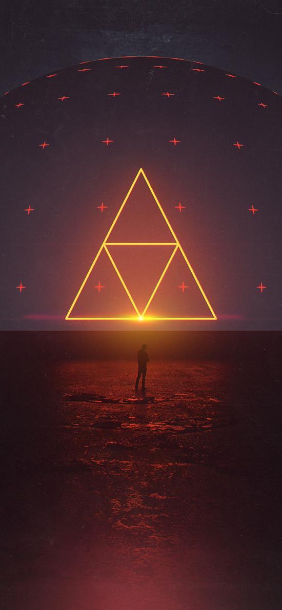 空间 三角形 几何 背影