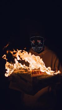 面具 男孩 写真 火焰