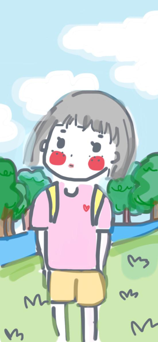 手绘 女孩 简笔 色彩 可爱 Didizhong作品