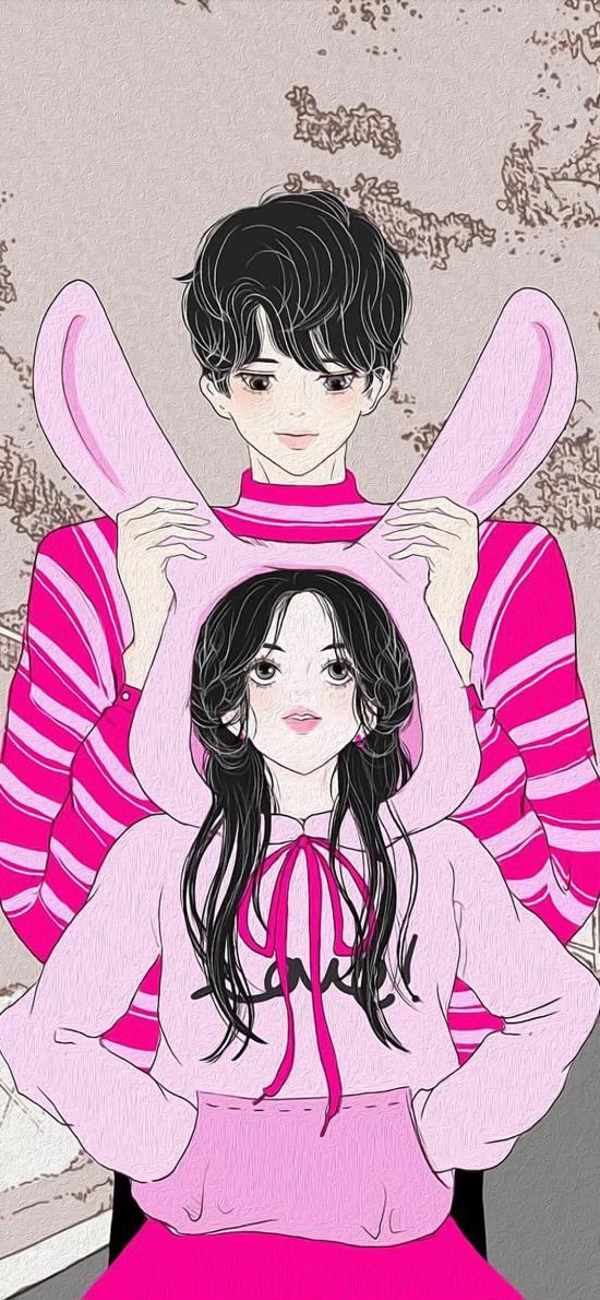 二次元 情侣 插画 兔耳朵 粉色