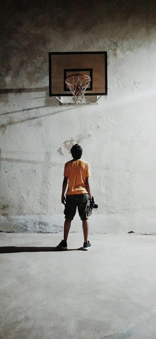 篮球架 球场 背影 运动
