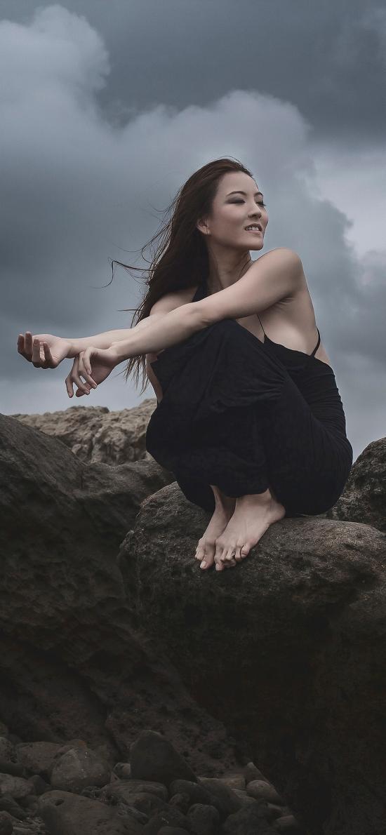 郊外 岩石 女孩 写真