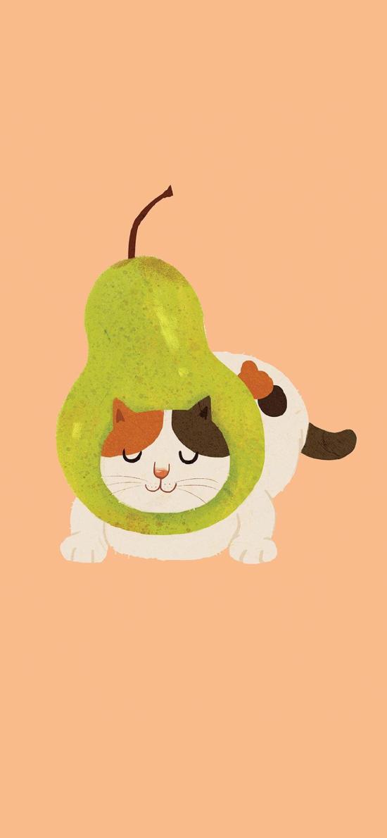 猫咪 插画 可爱 梨 水果
