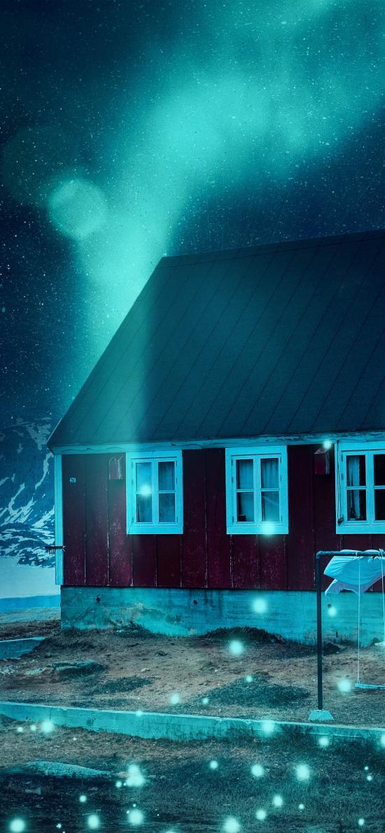 房屋 夜晚 荧光 唯美 月球
