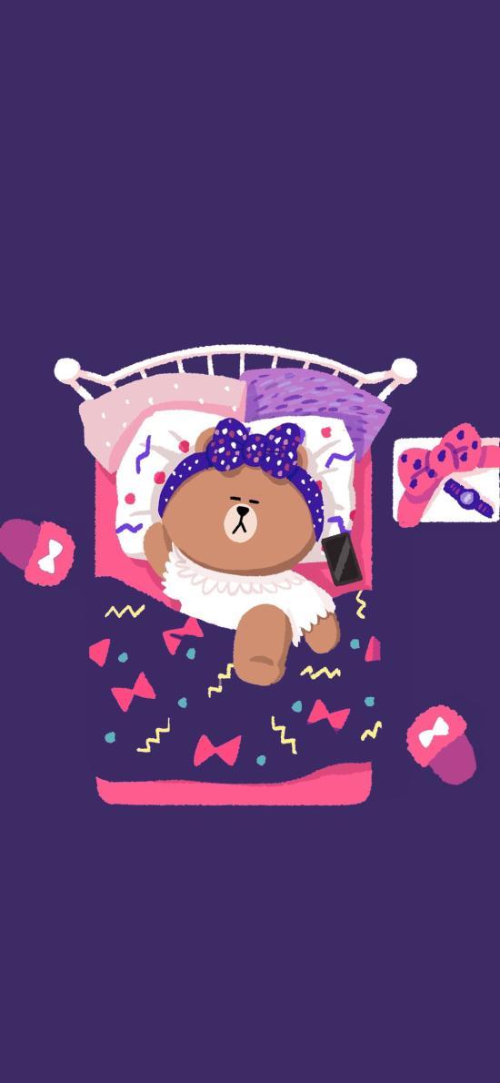 linefriends 布朗熊 被窝 紫色 卡通