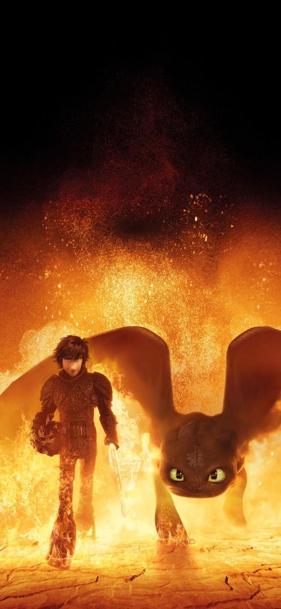 驯龙高手 隐秘的世界 电影 海报 动画 火焰