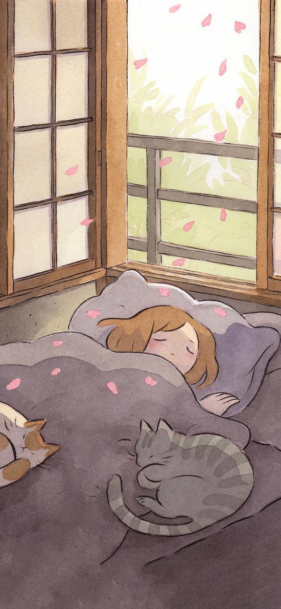 女孩 插画 猫咪 睡觉 樱花