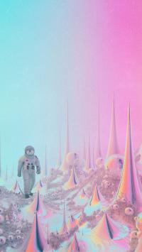 太空人 宇宙 空间 尖锐 粉色