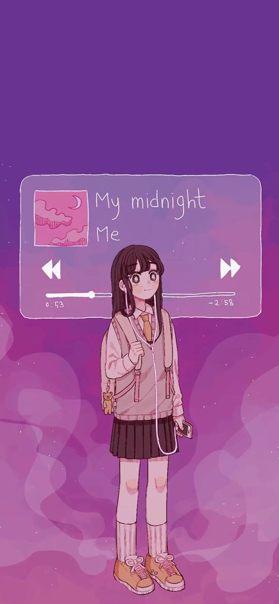 二次元少女 听歌 my midnight