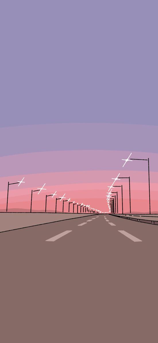 路 灯 马路插画 koke
