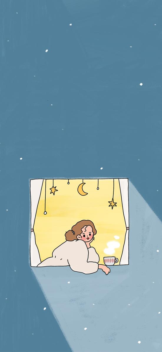 夜 窗边 女孩 星空 蓝色 插画